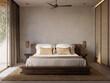 3d rendering of a Mykonos minimal cool luxurious hotel bedroom. Greek Aegean design style