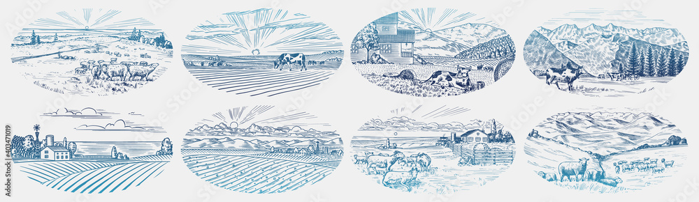 Obraz Rural meadow set. A village landscape with cows, goats and lamb, hills and a farm. Sunny scenic country view. Hand drawn engraved sketch. Vintage rustic banner for wooden sign or badge or label. fototapeta, plakat