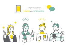 スマホを持っている人 笑顔 男女4人セット シンプルでお洒落な線画イラスト