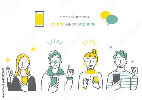 Obraz スマホを持っている人 笑顔 男女4人セット シンプルでお洒落な線画イラスト - fototapety do salonu