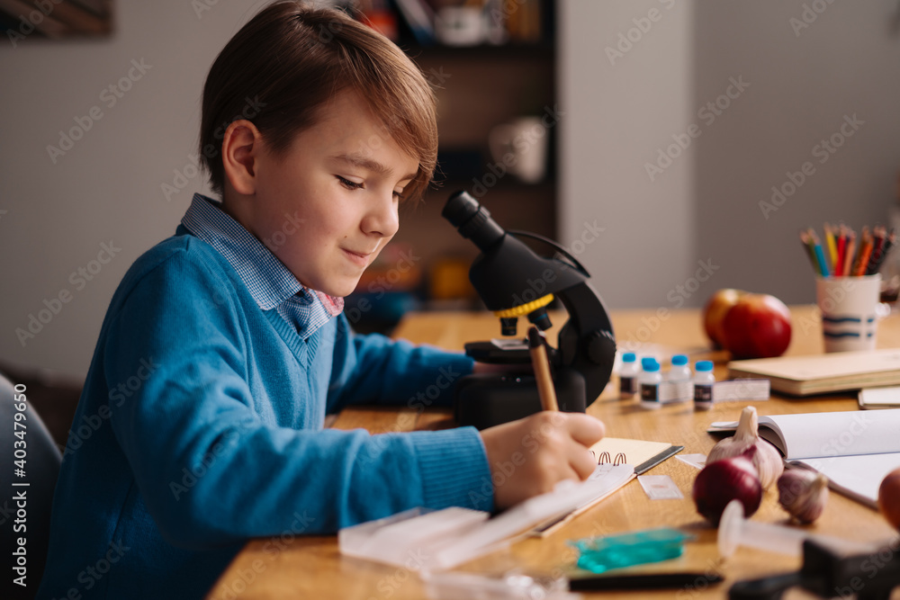 Fototapeta Distance online education, internet learning. First grade boy studying at home using microscope, making notes, biology online lesson