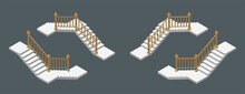 Isometric Vector Illustration Modern Concrete Staircases For Exterior Or Interior Isolated On Dark Background. Set Of Steps Or Stairs In Different Positions Vector Icons In Flat Cartoon Style.