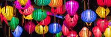 Colorful Paper Lanterns As Background Decoration