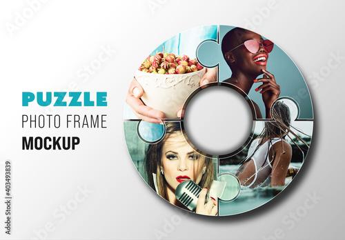Obraz Puzzle Photo Frame Mockup - fototapety do salonu