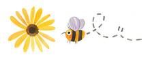 Watercolor Cute Hand Drawn Honey Bee Flying To A Yellow Flower. Aster Yellow Flower With A Herbal Nectar Eating Insect Bumblebee For Designing Product, Sticker, Logo.