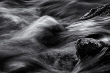 Long Exposure Of A River, Black And White .