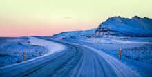 Beautiful Shot Of An Ice Road At Sunset