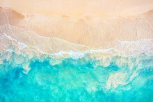 Top View Aerial Drone Photo Of Ocean Seashore With Beautiful Turquoise Water And Sea Waves. Caribbean Resort. Vacation Travel Background.