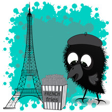 The Eiffel Tower And The Little Crow. Vector Illustration.Cute Little Crow And French Fries. Cartoon Vector Illustration.