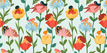 Seamless Pattern With Women Sitting In Flowers. Concept For International Women S Day And Other Use. Vector.