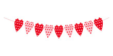 Heart Garland Isolated On White Background. Polka Dot Hearts. Bunting For Valentine Day Party, Wedding, Romantic Date. Decoration For Banners, Greeting Cards And Invitations. Vector Flat Illustration.