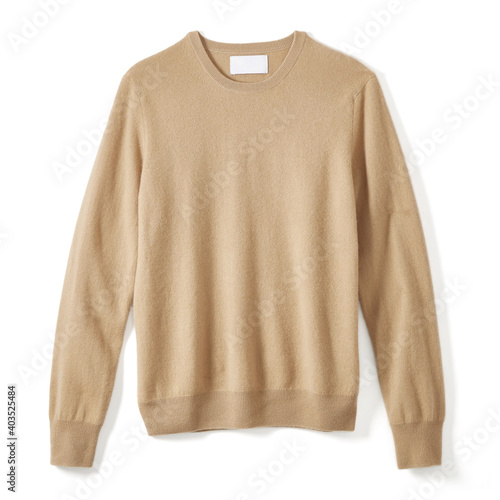 Foto Classic Cashmere Crew Neck Sweater Isolated on White Background
