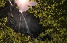 The 404 Foot Hickory Nut Falls In Chimney Rock, North Carolina.
