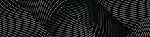 Abstract Black Background With Diagonal Wavy Lines. Modern Dark Abstract Vector Texture.