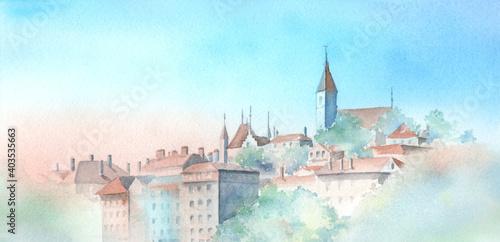 Fotografie, Obraz スイス トゥーン城 水彩画