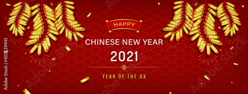 Obraz Happy Chinese new year 2021 year of the ox on red oriental wave pattern banner background with golden firecrackers and confetti - fototapety do salonu