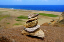 Close Up Of The Balancing Rocks Overlooking The Blue Ocean In Aruba
