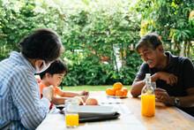 Grandparents And Grandson Picnicking Together At Yard.