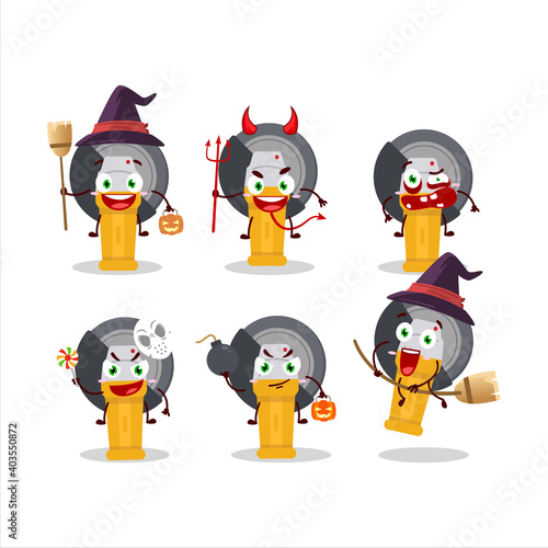 Fototapeta Halloween expression emoticons with cartoon character of grinder
