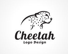 Wild Cat, Cheetah, Tiger Watching Drawing Art Half Body Logo, Symbol Design Inspiration