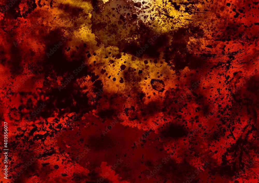 Fototapeta Disturbing image red-black sputtering background