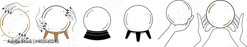 Valokuva Witchy Magic Crystal Ball, Fortune Teller, magic crystal balls and witch hands,h