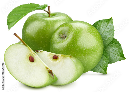Fotografie, Obraz Isolated green apple with leaf