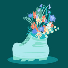A Shoe With Flowers Planted Inside It