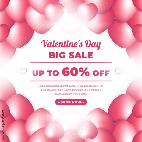 Fototapeta Valentine Day Banner with Pink Colour. Romantic banner For Promotion, 14 February Sale. Big Sale 50% Off for Fashion, Digital Promotion, Voucher or Card. Vector illustration obraz na płótnie