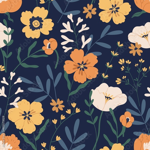 Fotografiet Gorgeous seamless pattern with anemones on black background