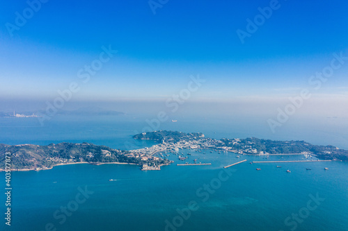Obraz Aerial view of Cheung Chau, Famous vacation location in outter island of Hong Kong - fototapety do salonu