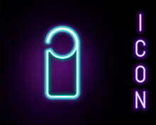 Glowing Neon Line Please Do Not Disturb Icon Isolated On Black Background. Hotel Door Hanger Tags. Colorful Outline Concept. Vector.