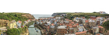 The Village Of Staithes Isolated On White Background. It Is A Seaside Village In The Scarborough Borough Of North Yorkshire, England