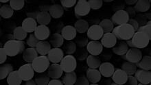 Round Mosaic Surface With Random Black Carbon Cylinders. Abstract Geometric Background. 3d Rendering Illustration.