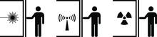 People Icons: Isolation Concepts. Isolation From Laser Radiation, Ionizing Radiation, Non-ionizing Radiation Risk.
