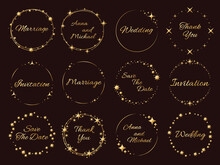 Stardust Golden Frames. Wedding Invitations Inscriptions, Stars And Sparks Around, Luxury Event Decor, Elegance Templates. Round Glitter Shiny Effect Particles With Copy Space Vector Set