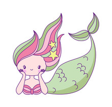Cute Little Mermaid. Underwater Princess With Fish Tail In Green And Pink Colors Lying, Myth Of Kids Fairy Tale, Adorable Ocean Fantasy Creature, Vector Cartoon Single Isolated Character