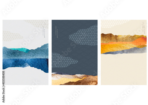 Fototapeta Landscape background with Japanese wave pattern. Abstract template with geometric pattern. Mountain layout design in Asian style. obraz