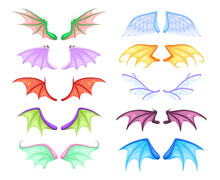 Dragon Wings. Different Myth And Fable Creatures Pair Flying Wing, Fairy And Dragon, Angel And Demon, Bats And Birds. Colorful Magic Decor Collection Vector Cartoon Isolated Set