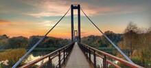 Suspension Bridge At Sunset. Penza, Bessonovka.