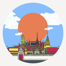 Illustration Of Temple Of The Emerald Buddha, The Main Temple Of Thai Royal Family, As Known As Wat Phra Kaew With Sun And Cloudy Blue Sky As A Background.