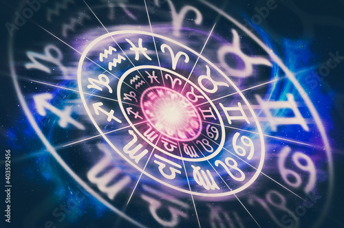 Astrological zodiac signs inside of horoscope circle