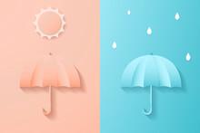 Digital Craft Paper Art Umbrella With Sun And Rain Drop Minimal Style , Abstract Pink Blue Background , Summer And Rainy Season , Vector Illustration