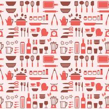 キッチンツールのシームレスパターン Kitchen Tools Seamless Pattern Vector Art