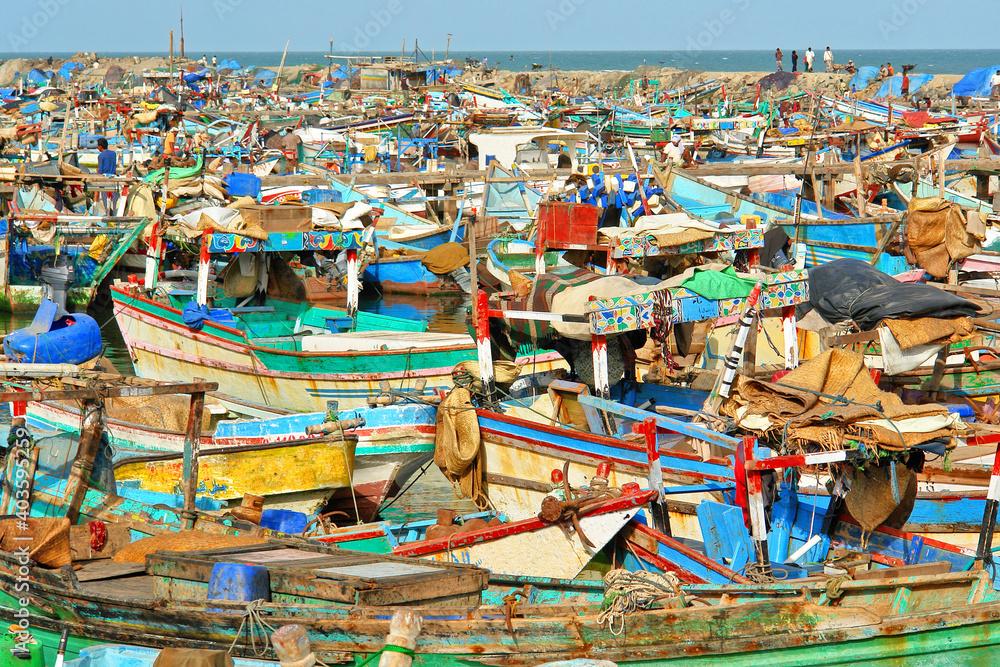 Fototapeta Al-Hudaydah  fishing port in Jemen on the Red Sea