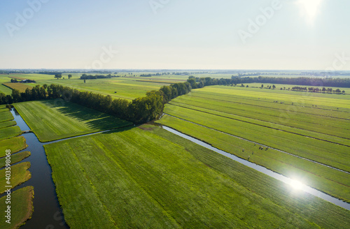 Photo The typical dutch polder landscape at the end of summer, Langerak, Zuid-Holland,