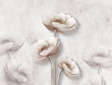 3d Mural Wallpaper With Simple Flowers In White Background . Modern Flowers In Simple Wall