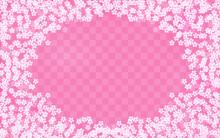 桜の花びらと市松模様のフレーム、和柄背景素材