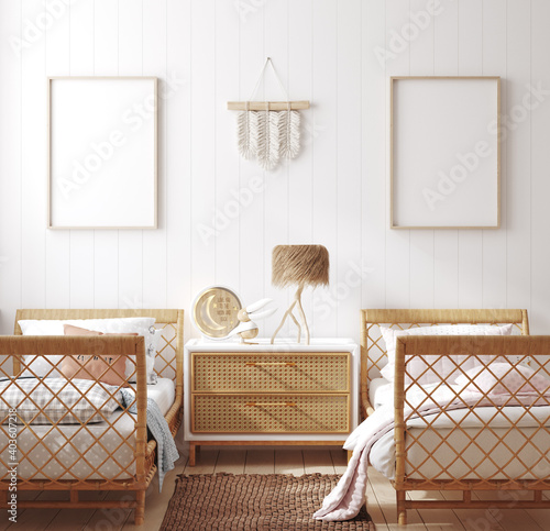 Mockup frame in children bedroom with wicker furniture, Coastal boho style, 3d render