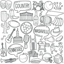 Nashville, TN, USA Doodle Icon Set. American Traditional Folk Music Tools Vector Illustration Collection. Culture United States Hand Drawn Line Art Style.